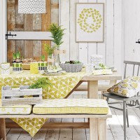 Rustic dining room with spring yellow retro patterns