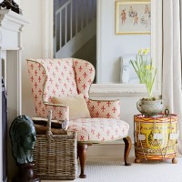 Smart country living room with fleur-de-lys armchair