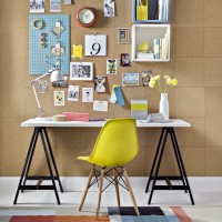 Contemporary home office with pinboard wall