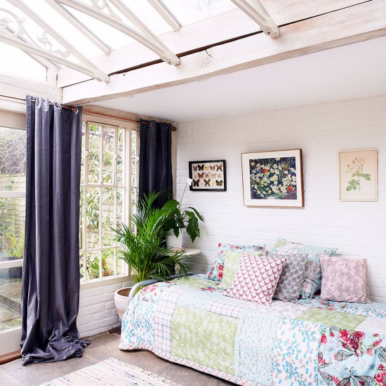 Orangery with daybed and pastel coloured walls linen for Orangery ideas uk