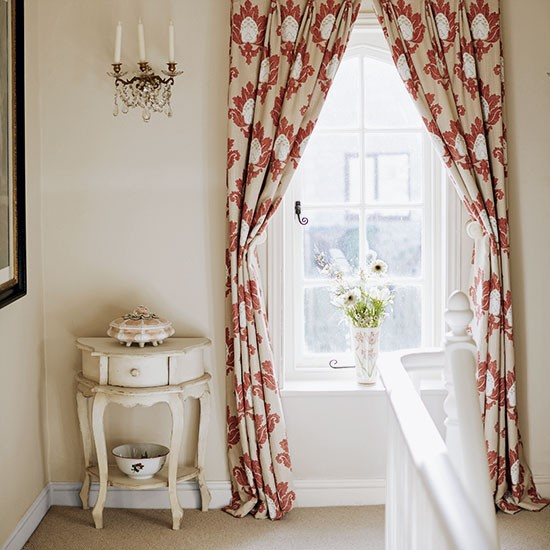 Country Style Landing With Damask Curtains And Pretty