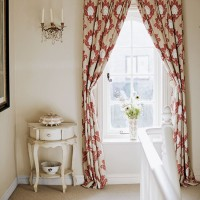 Country-style landing with damask curtains and pretty table