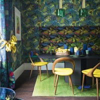 Jungle dining room with fabulous prints and banana yellows