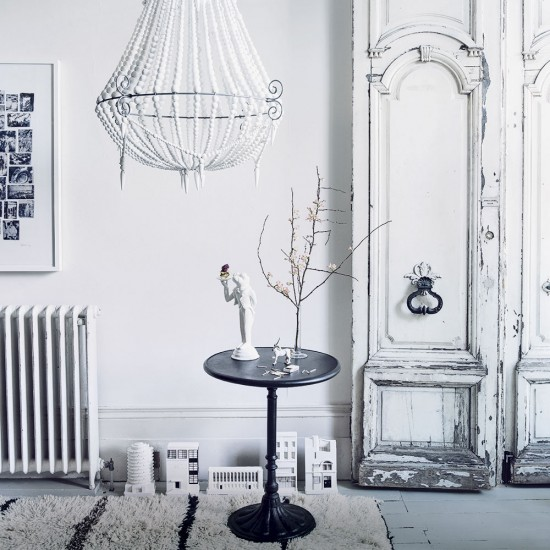 Modern White Living Room With Distressed Cupboard