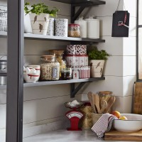 Country kitchen with open shelf storage