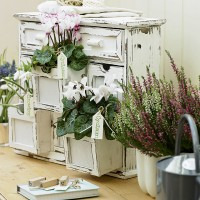 Pretty tabletop drawer display with seasonal flowers