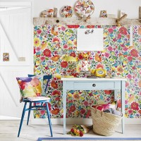 Country home office with fun floral wall