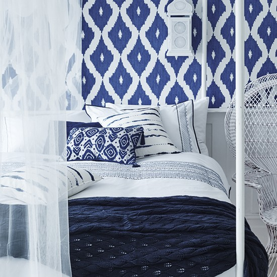 Moroccan blue homeware collection: Moroccan style bedroom by Sainsbury's