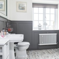 Modern bathroom with grey panelling and laminate flooring