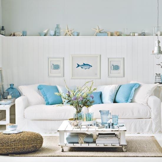Nautical Home Decor Uk: Aqua And White Coastal Living Room