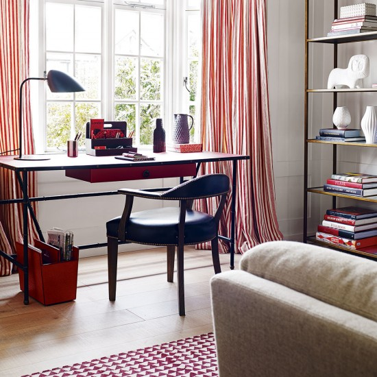 Modern Home Office With Red Striped Curtains And Patterned