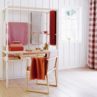 Framed home office desk with fabric screens
