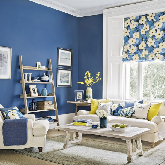 Modern blue living room with forsythia yellow accents for Living room yellow accents