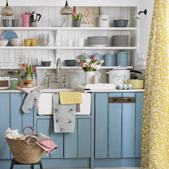 Choose open shelving for shabby chic country storage