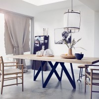 Modern dining room with wood table and chairs