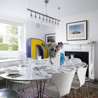 Pure white dining room with supersized lettering