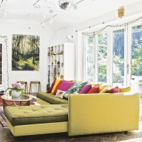 Lively living room with citrus sofa