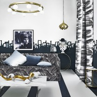 Modern monochrome living room with contrasting patterns