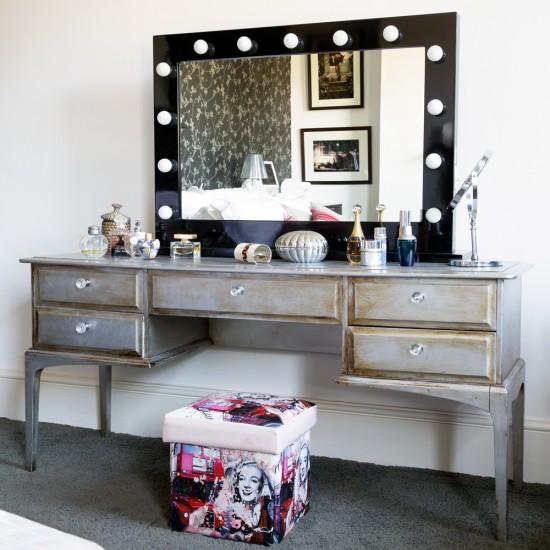 pretty bedroom corner with distressed wood dressing table. Black Bedroom Furniture Sets. Home Design Ideas