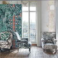 Mismatched botanical-print living room