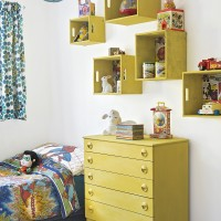 Modern children's bedroom with crate shelves