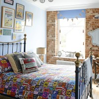 Vintage style bedroom with brick effect walls