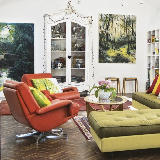 Eclectic Living Room With Orange Leather Armchairs