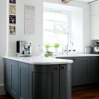 Modern kitchen with dark grey units