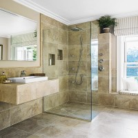 En-suite bathroom with large-format tiles and feature shower