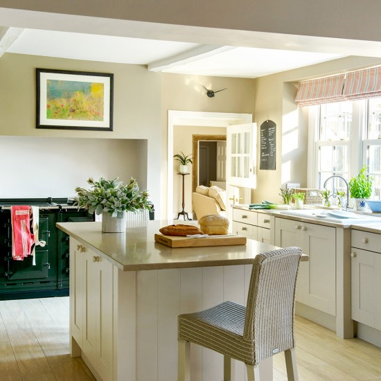 Small Country Kitchen With Island: Include An Overhang And Draw Up A Chair