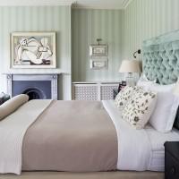 Traditional bedroom aqua velvet headboard