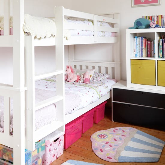 Small Children 39 S Room With Smart Bunk Bed Storage Small