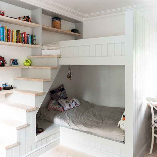 Small Children 39 S Room With Bunk Bed Cabin And Stairs