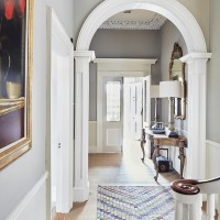 Grand hallway with period features and patterned rug