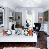 Modern living room with feature herringbone floor