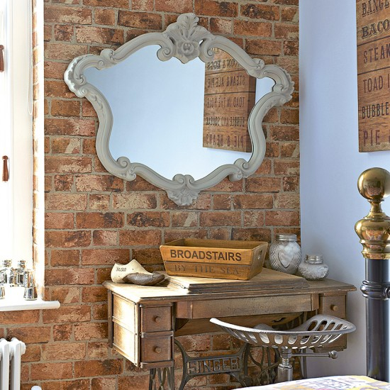 Bedroom With Faux Brick Wallpaper And Sewing Table