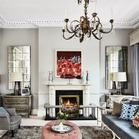 Traditional living room with opulent grey furnishings