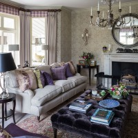 Grey and heather living room with tactile fabrics and subtle patterns