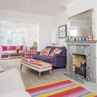modern living room with bright and colourful furniture