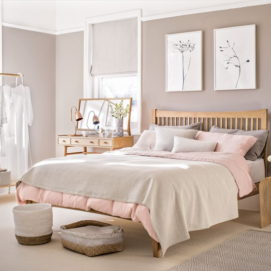 Bedroom with pale pink paint palette and wooden furniture : Bedroom paint ideas : housetohome.co.uk