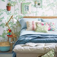 Country bedroom with beech tree print wallpaper