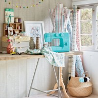 Country craft room with pastel accents