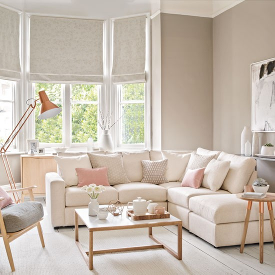 Pale and pretty living room with copper floor lamp housetohome co uk