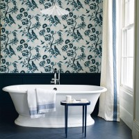 Showpiece blue and white bathroom with Japanese-style wallpaper print