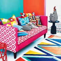 Latin American-inspired living room with vibrant colour and pattern