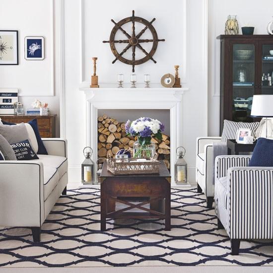 Nautical Home Decor Uk: Nautical Living Room With A Hampton's Theme And Ship's