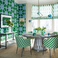 Modern green dining room with statement patterns