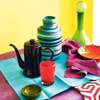 Colourful dining room with vibrant tableware