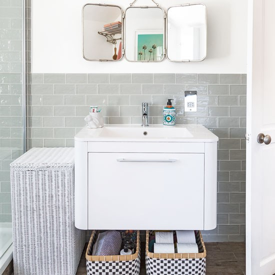 Modern Bathroom With White Vanity Unit And Mint Metro Tiles