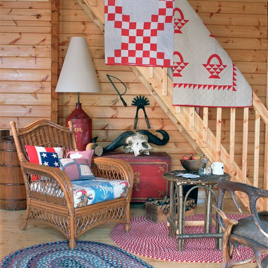 Americana Living Room With Cabin Style Walls Americana Room Ideas